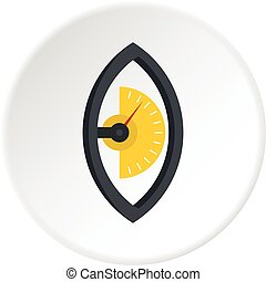 Hand power meter icon circle - Hand power meter icon in flat...