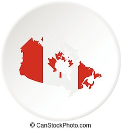 Map of Canada in national flag colors icon circle