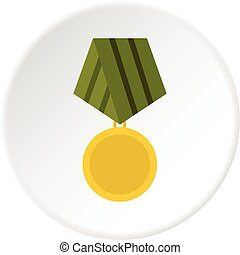 Military medal icon circle - Military medal icon in flat...