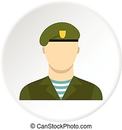 Army soldier icon circle - Army soldier icon in flat circle...
