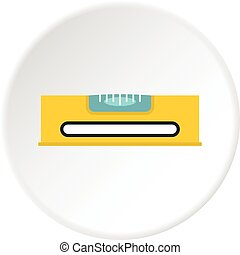 Yellow working tool bubble level icon circle