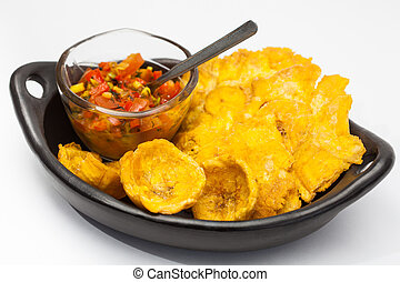 Plantain cup and patacones on white background - Plantain...