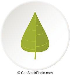 Green poplar leaf icon circle - Green poplar leaf icon in...