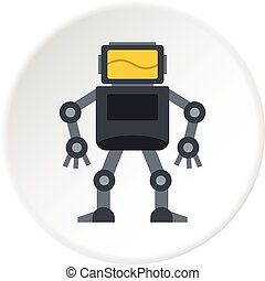 Grey robot with monitor head icon circle