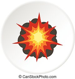 Fire explosion icon circle - Fire explosion icon in flat...