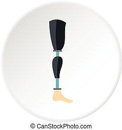 Prosthesis leg icon circle - Prosthesis leg icon in flat...