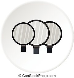 Magnifying glass icon circle - Magnifying glass icon in flat...