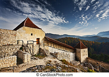 Rasnov fortress in Romania - Rasnov fortress ruins in...