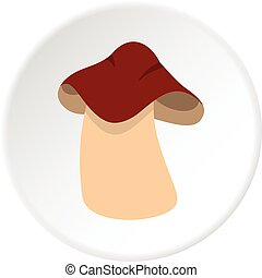 Boletus icon circle - Boletus icon in flat circle isolated...