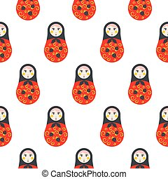 Russian doll matryoshka red seamless pattern.