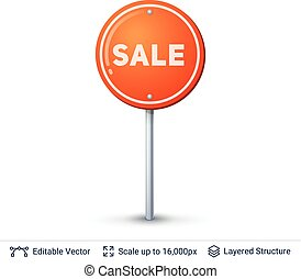Sale Road sign. - Ads shop road sign. Vector icon isolated...
