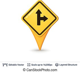 Road sign pin. - Location pin symbol in shape of road sign....