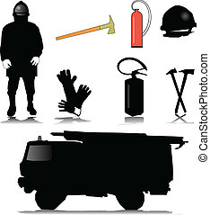 fireman equipment icon vector