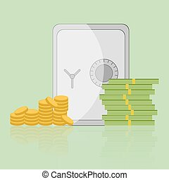 Cash and gold coins with money safe