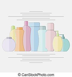 Set of cosmetic product colorful containers flat style isolated objects