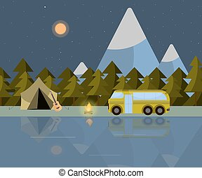 Camping at night of illustration with mountains, river, bus, tent and guitar
