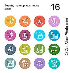 Colorful Beauty, cosmetics, makeup icons for web and mobile design pack 1