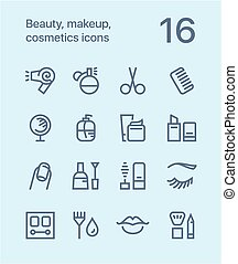 Outline Beauty, cosmetics, makeup icons for web and mobile design pack 1