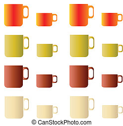 set of coffee and tea cups color vector