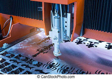 laser CNC cut machine while cutting the sheet metal