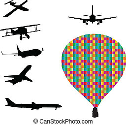 aeroplanes and balloon silhouettes vector
