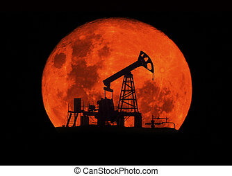 Ukrainian oil rocking in the Carpathians - Moonlit night in...