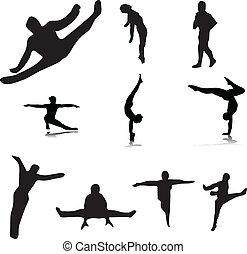 gymnastic 1 - gymnastic vector silhouettes