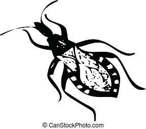 kissing bug vector illustration isolated on white silhouette
