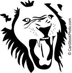 angry lion tribal
