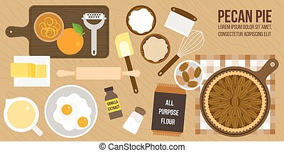 cooking pecan pie poster, ingredients and utensils, flat...