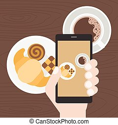 hand holding smart phone take photo of coffee, cookie and croissant, Food photography concept flat design vect