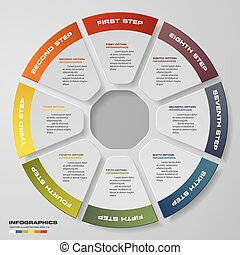 Infographic design template 8 options pie chart and business concept.