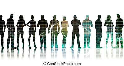 Silhoutte of Business People Standing in a Line Row