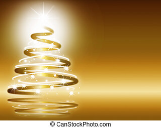 abstract christmas three on gold background