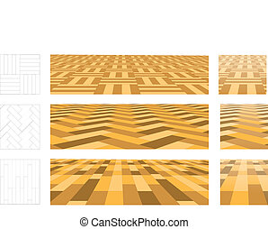 Parquet in perspective plane. Set of vector illustrations