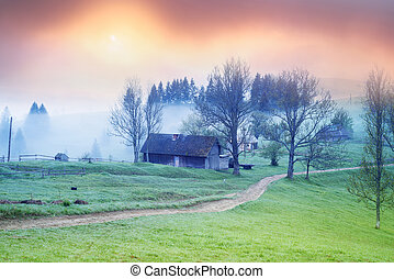 Lazeyschina Lazeshchyna village in the mist - A gentle...