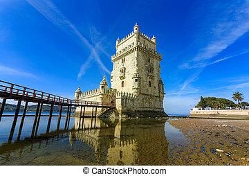 Belem Tower on the Tagus River. - Lisbon, Portugal at Belem...