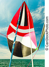 Spinnaker with uphaul, blue sky in background. - Spinnaker...