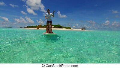 v07285 Maldives white sandy beach 2 people young couple man...