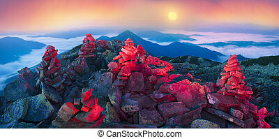 Night misty mountains - Panorama of the night mountains from...