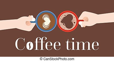 Two Hands holding coffee cups in aerial view with latte art and crema of heart shape, flat design for coffee time concept