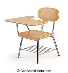 Wooden school desk and chair isolated on white. 3d...