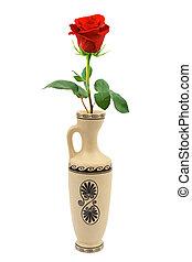 Red rose in retro vase