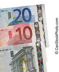 Five, ten and twenty Euro notes close up