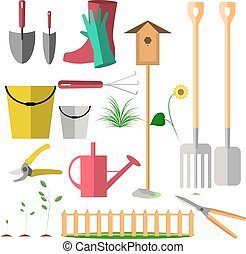 Set of vector garden tools. Flat style icons.