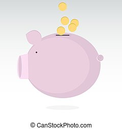 Piggy bank vector illustration with coins