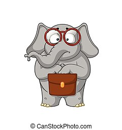 Elephant. Character. The botanist with glasses is holding a briefcase in his hands. Surprised. Big collection of isolated elephants. Vector, cartoon