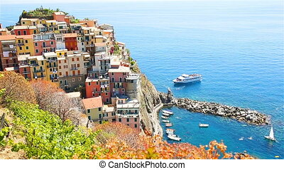 View on architecture of Manarola village. Beautiful city is...