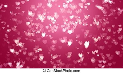 Animation of white hearts on a red background
