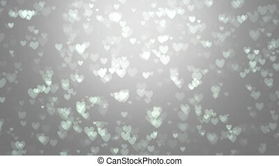 Animation of white hearts on a gray background